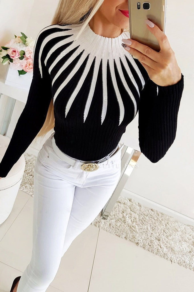 Fashion Casual Patchwork Turtleneck Top