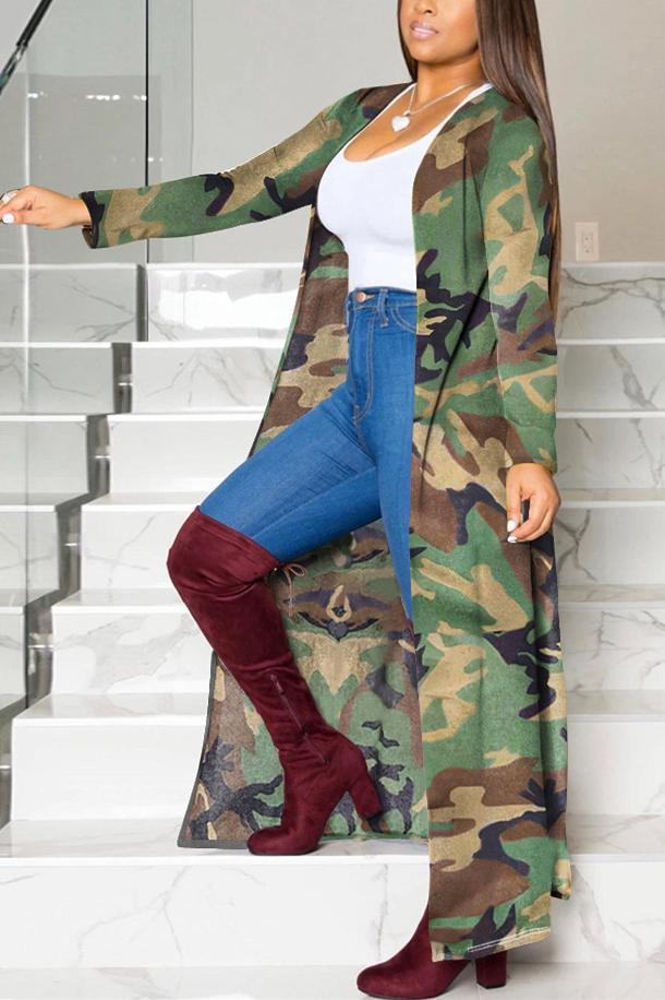Casual Camouflage Print Loose Trench Coat