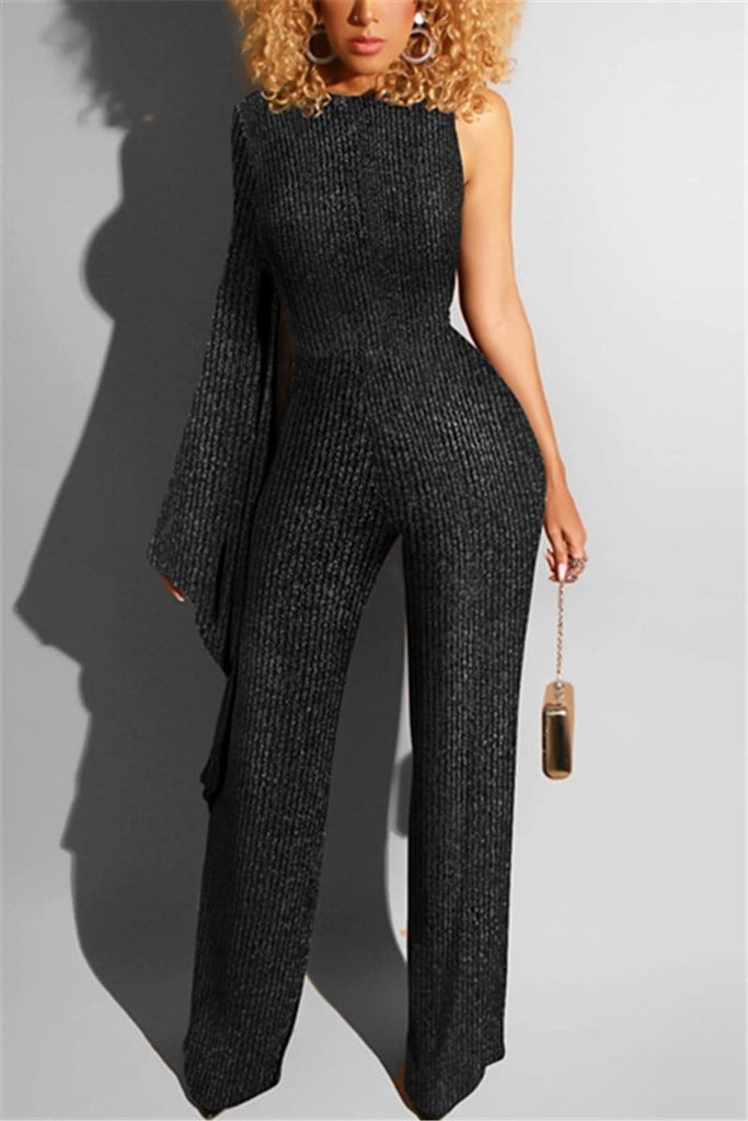 Fashion Irregular Sleeve Striped Jumpsuit