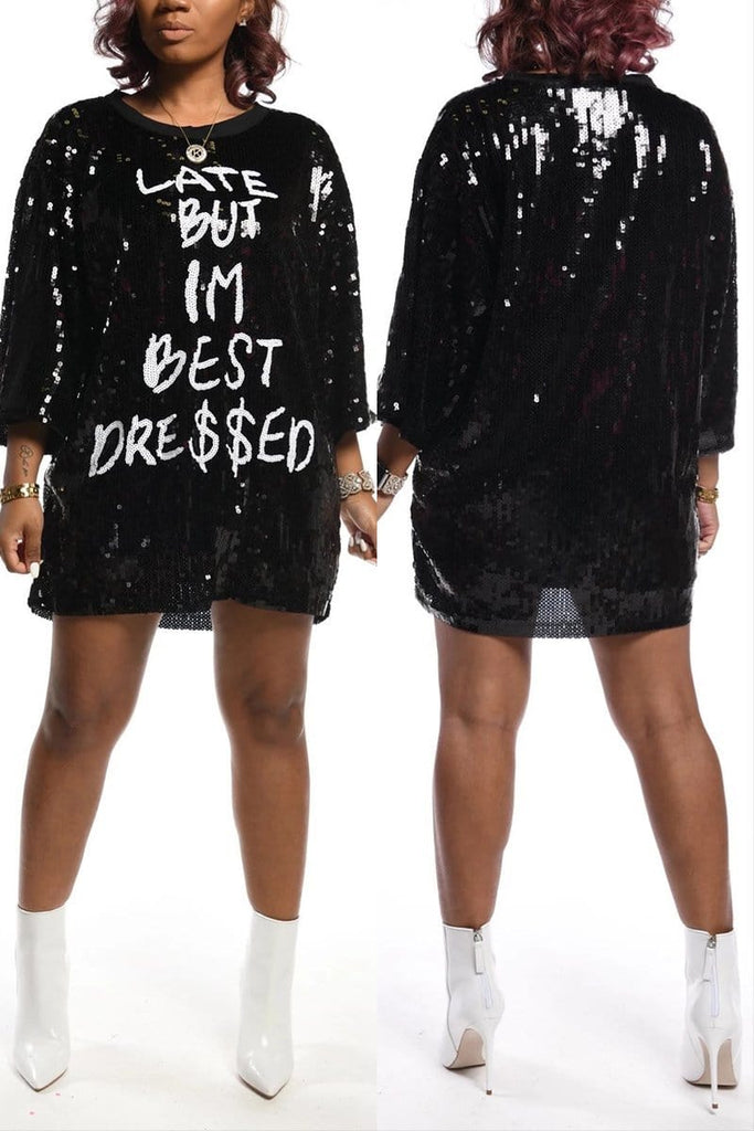 Casual Loose Letter Sequins Dress