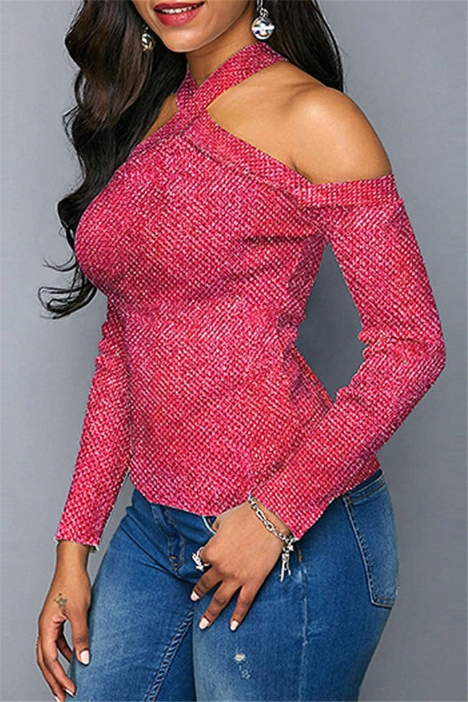Fashion Backless Long Sleeve Top