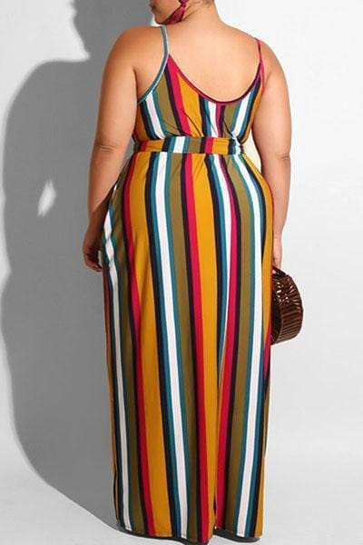 Printed Striped Lace-Up Maxi Dress