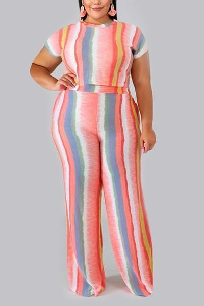 Printed Striped Two-piece Set