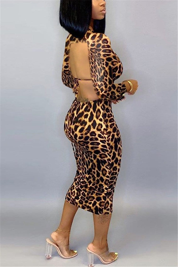 Sexy Backless Leopard Print Dress