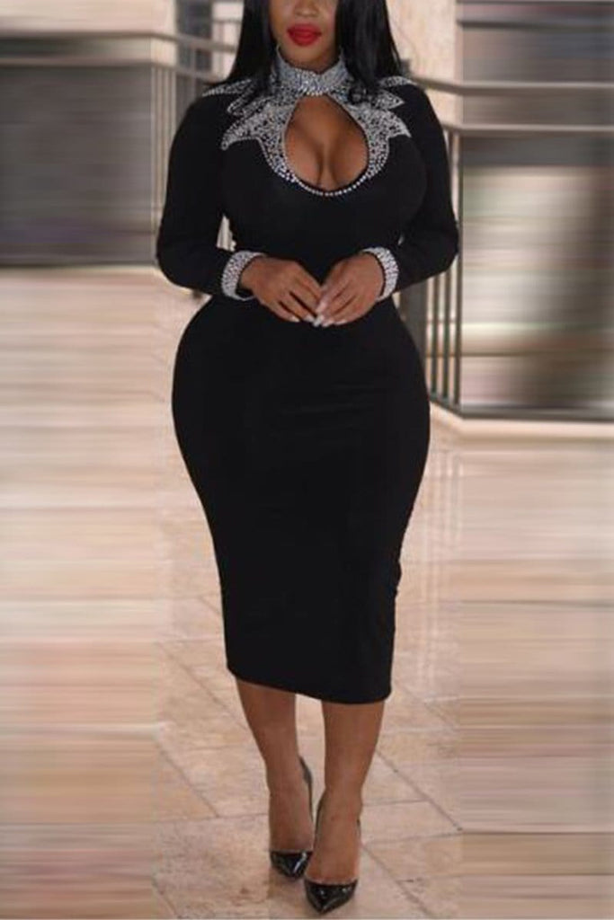 Fashion Slim Black Long Sleeve Dress