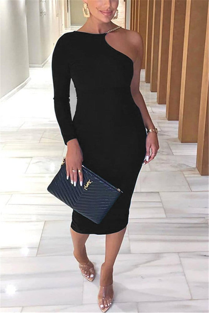 Sexy Solid Color Long Sleeve Dress