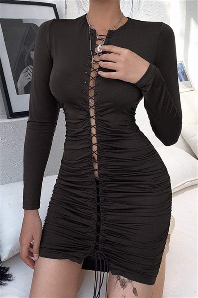 Sexy Solid Color Slim Dress