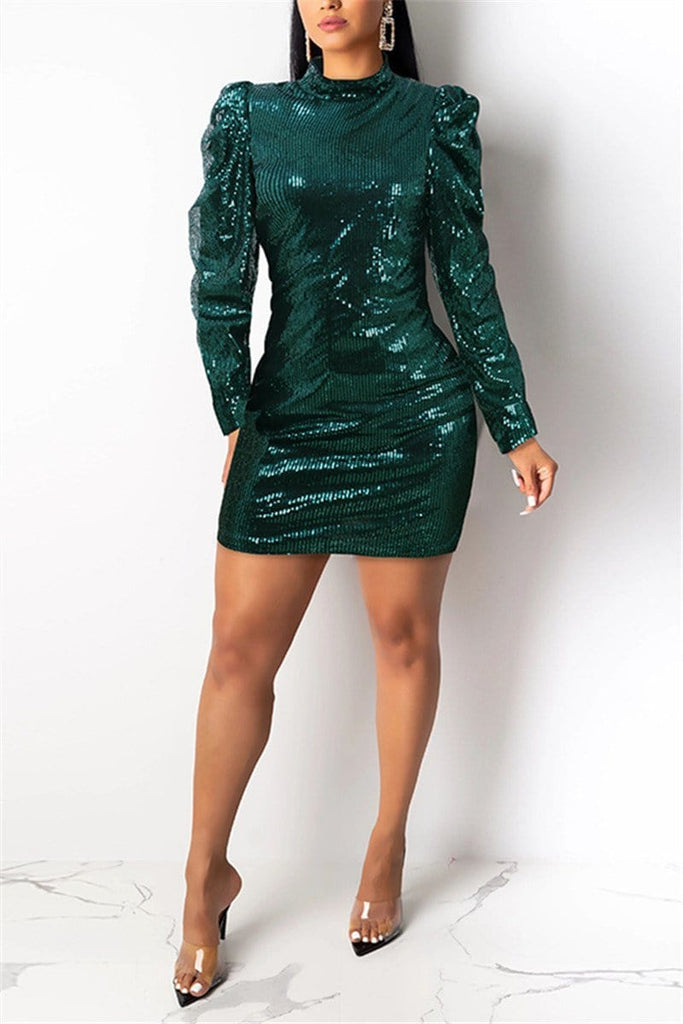 Fashion Bubble Sleeve Sequins Dress