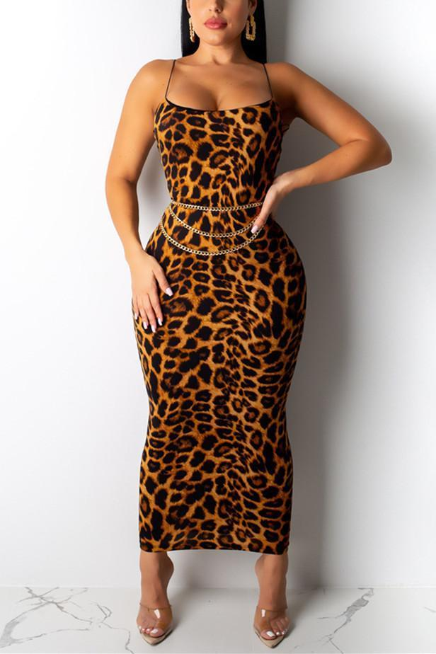 Sexy Leopard Print Sling Dress(Without Belt)