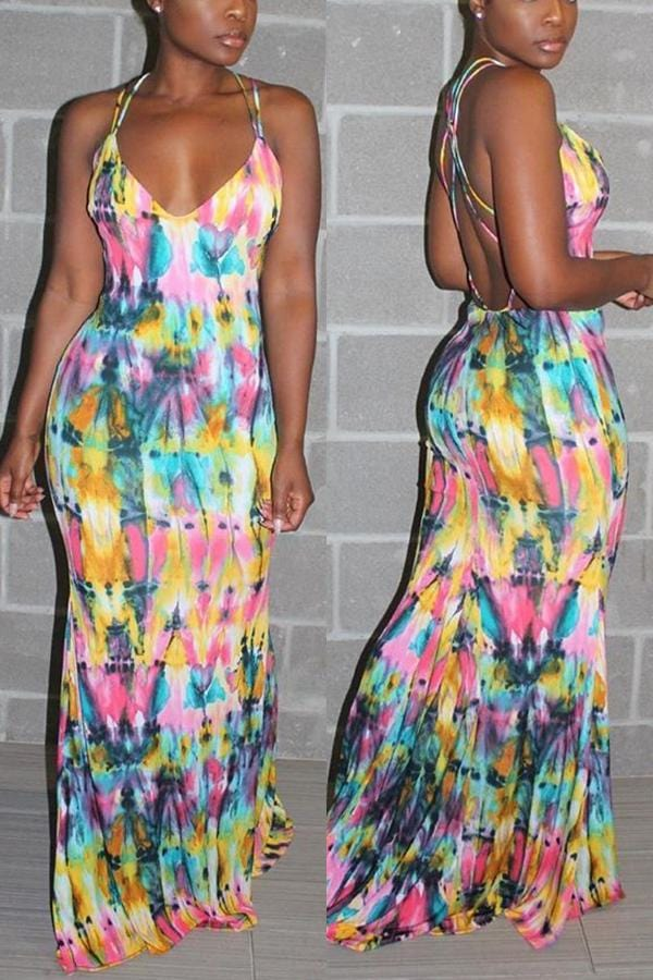 Sexy Halter Strapless Tie-Dyed Print  Dress