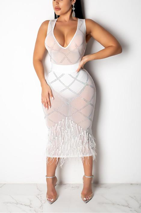 Sexy Fashion Perspective Sleeveless V-neck  Dress