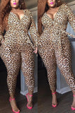 Fashion Large Size Leopard Printing Jumpsuit
