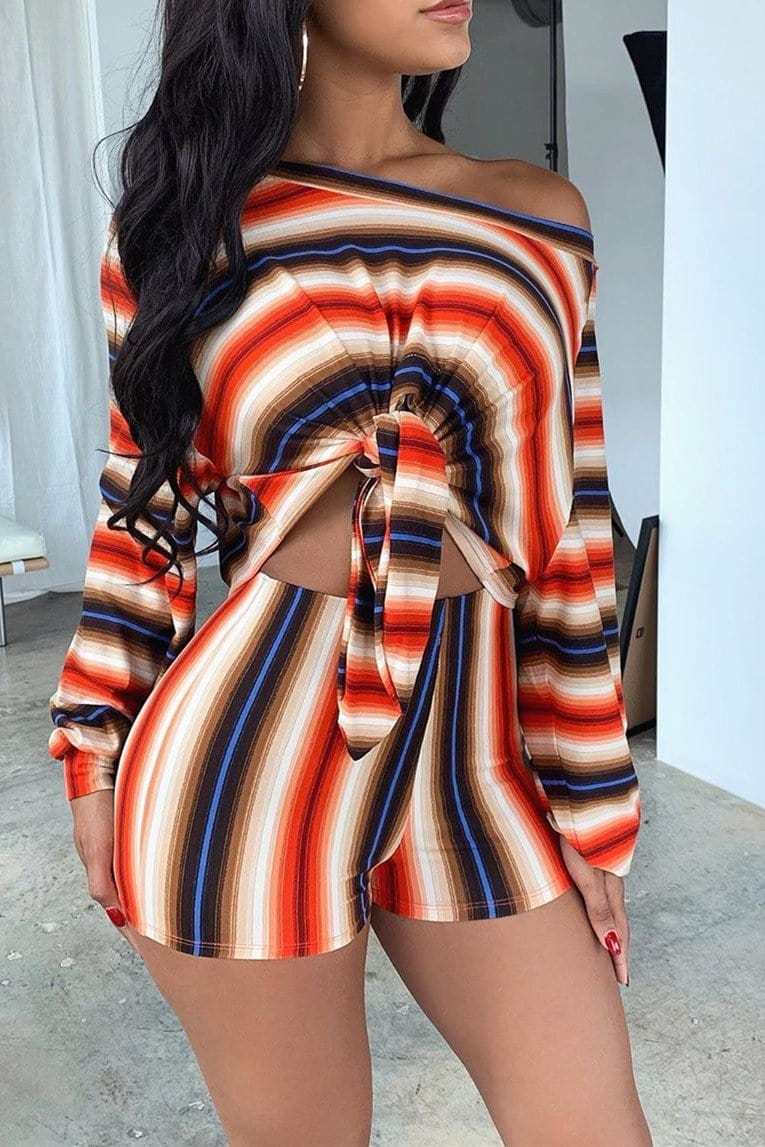 Fashion Slanted Shoulder Long Sleeve Two-Pieces