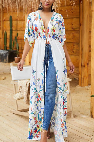 Printed Waistband Loose Beach Bikini  Coat