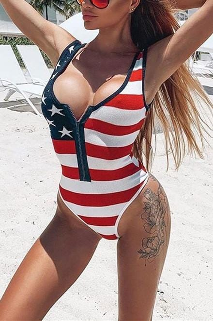 Fashion Sexy American Flag Print  Swimsuit