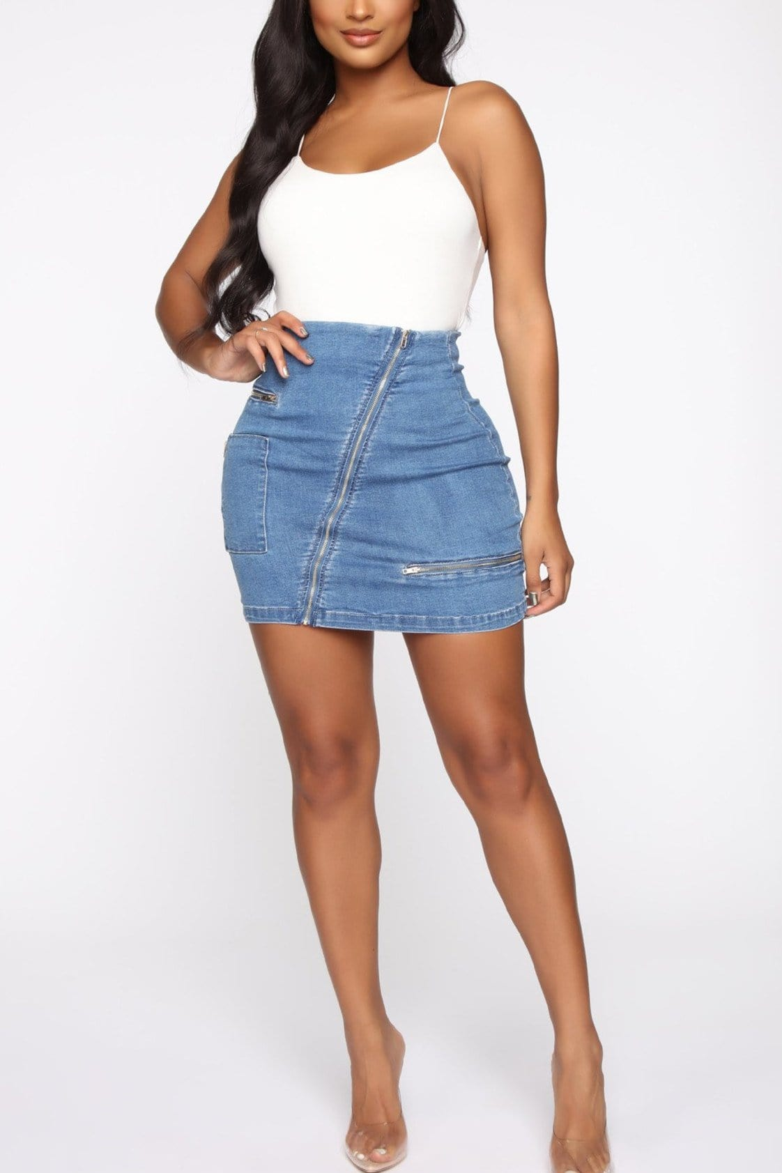 Sexy Versatile Zipper High-Waist Denim  Skirt