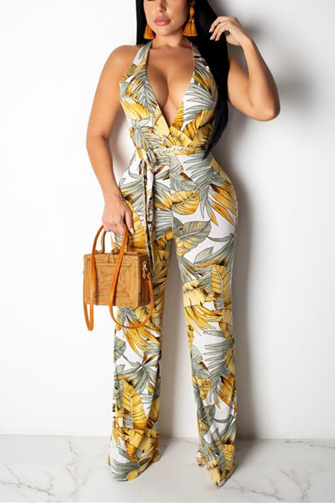 Fashion Sexy Printing V-neck Jumpsuit - VogueRegion