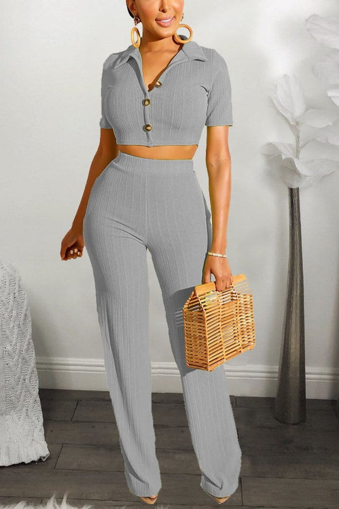 Casual Knit Short Sleeve Pants Set - VogueRegion