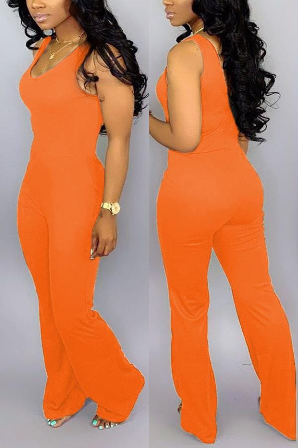 Sexy Sleeveless Wide Leg Horn Jumpsuit