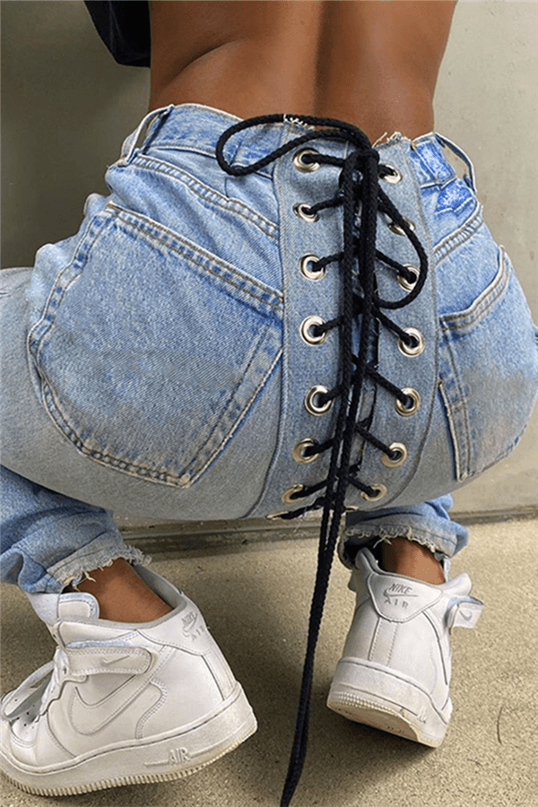 Fashion Casual Straight Patchwork Jeans