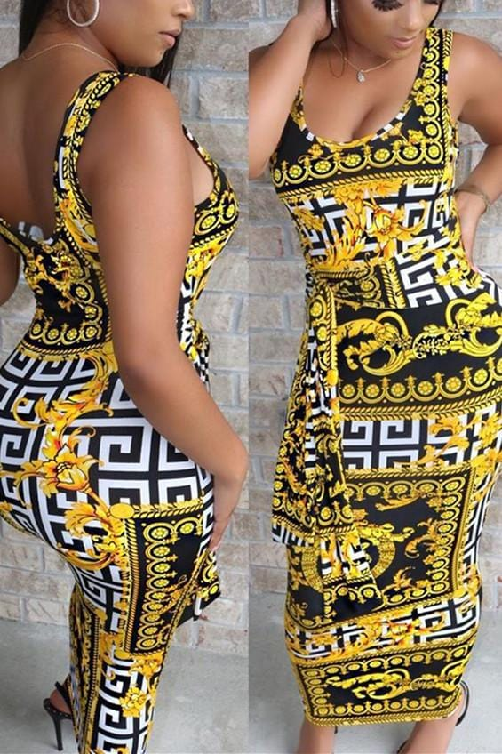 Fashion Casual Print Vest Dress