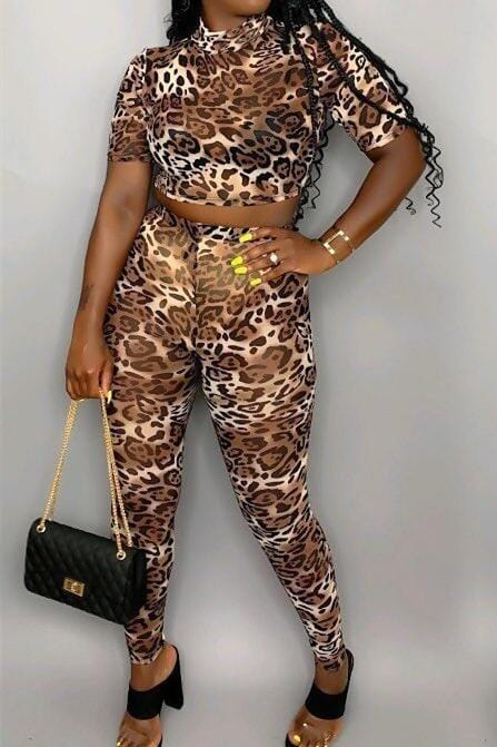 Sexy Leopard Digital Print Two-Pieces Set