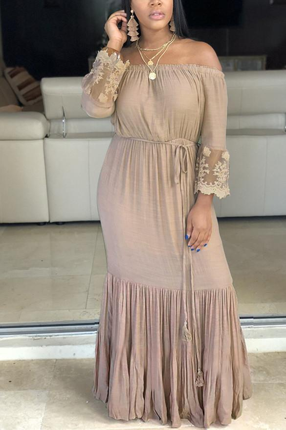 Fashion Off Shoulder Fringed Fold Dress