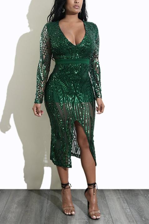 Fashion Sexy Deep-V Sequins  Dress