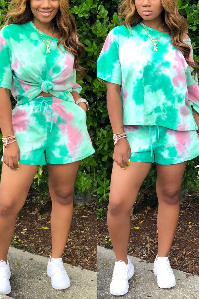 Casual Cute Sports Tie-Dyed Shorts Set