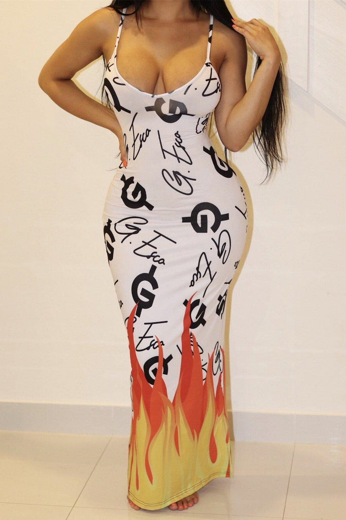 Sexy Slim Flame Print Sleeveless Dress