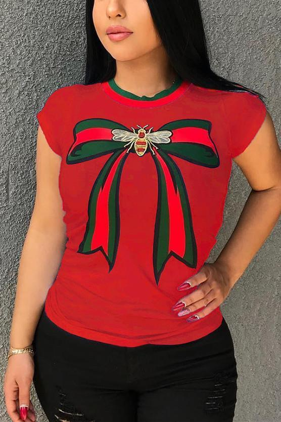 Round Neck Bow Cotton T-shirt