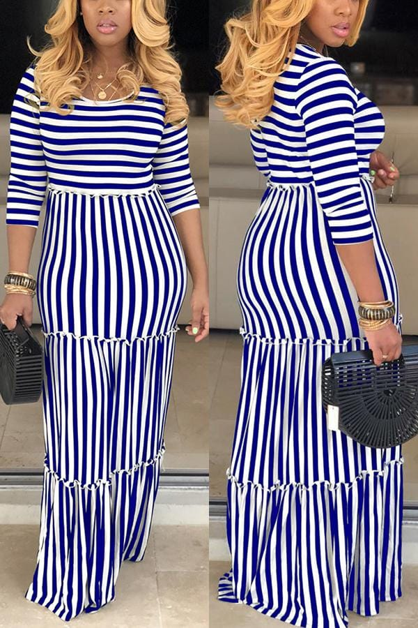 Sexy Classic Striped Featuring Mopping  Dress