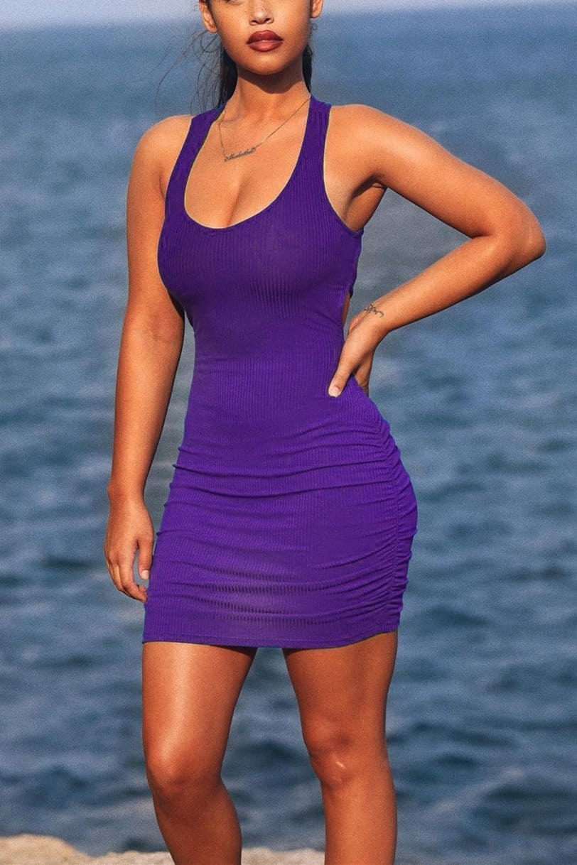 Sexy Solid Color Slim-Fit Breathable Dress
