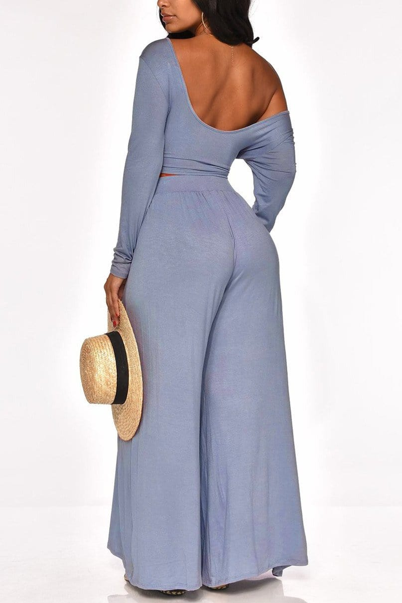 Sexy Off-The-Shoulder Long Sleeve Pants Set