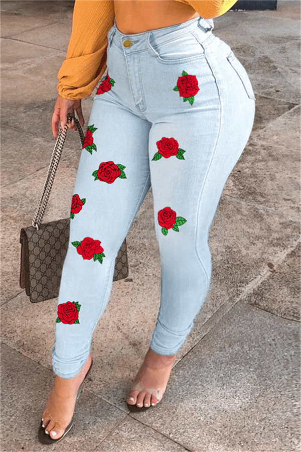 Fashion Casual Rose Print Slim Jeans