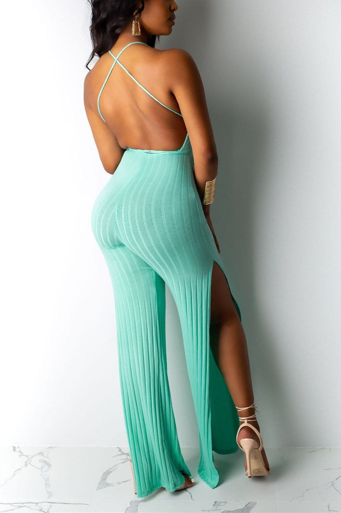 Sexy V-neck Strappy Wide-Leg Jumpsuit