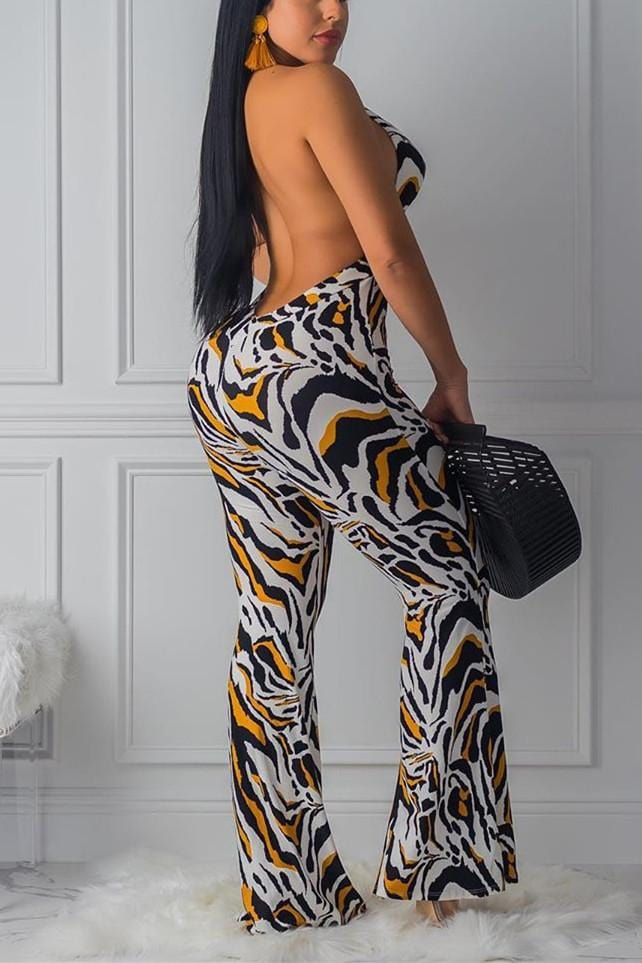 Sexy Fashion Printed Wide Leg Jumpsuit
