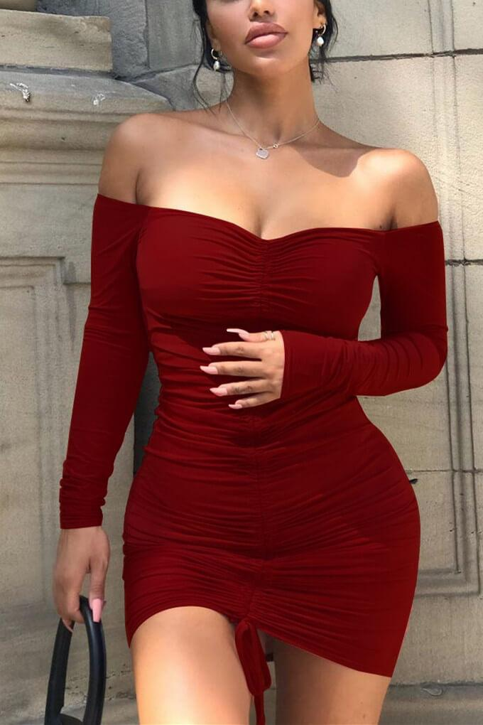 Fashion Sexy Drawstring Pleated Off-Shoulder Dress