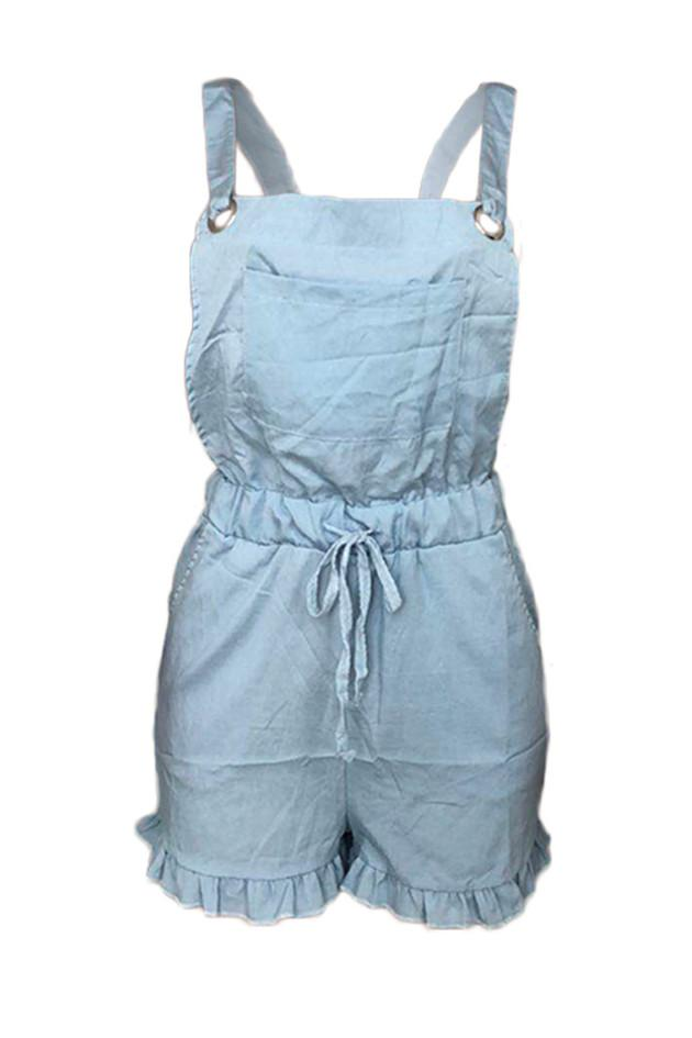 Fashion Sling Wooden Ears Denim Romper