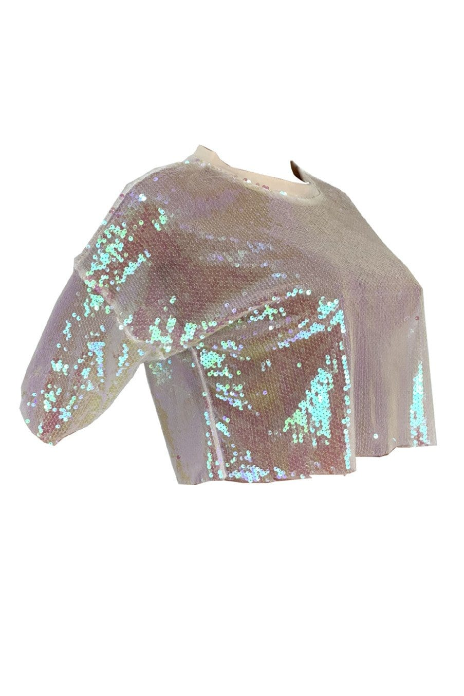 Sexy Sleeves Sequins Transparent Color Top