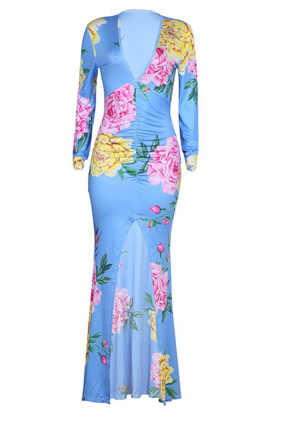 Fashion Sexy Printing Long Sleeve Dress