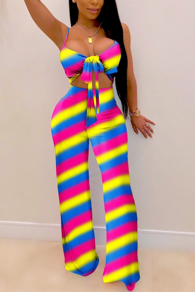 Sexy Sling Striped Wide Pants Set