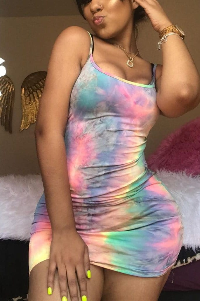 Fashion Tie-Dyed Printed Sling Dress