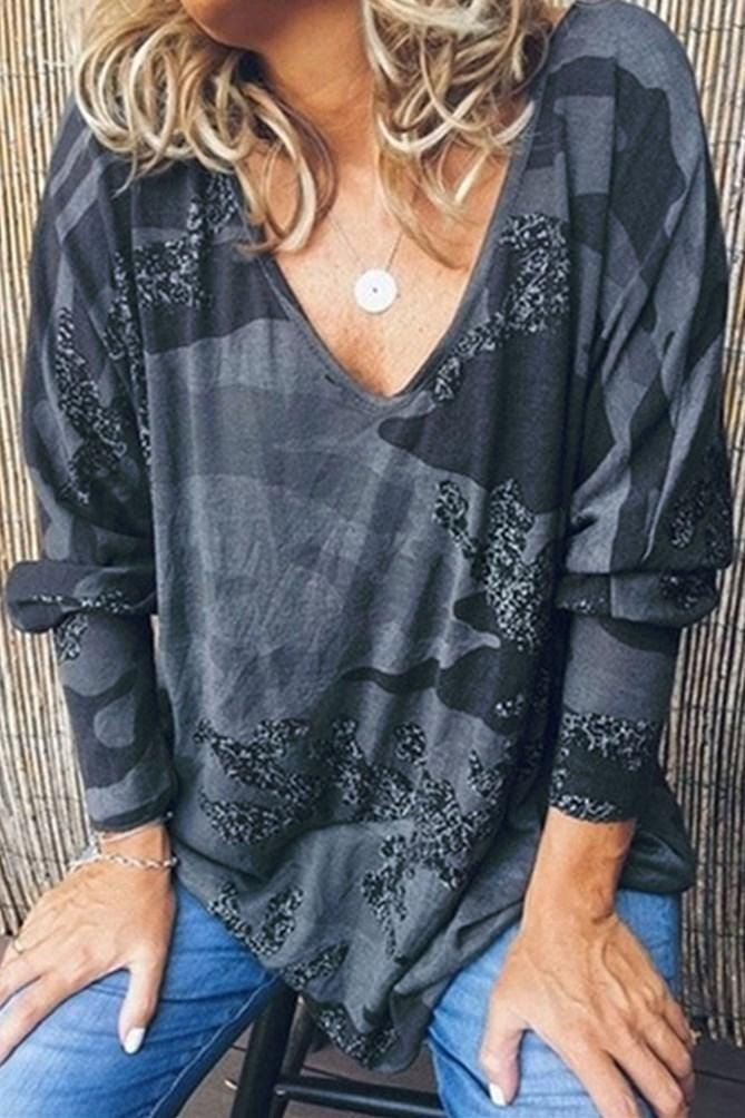 Sexy V-Neck Loose Print Long-Sleeved Top