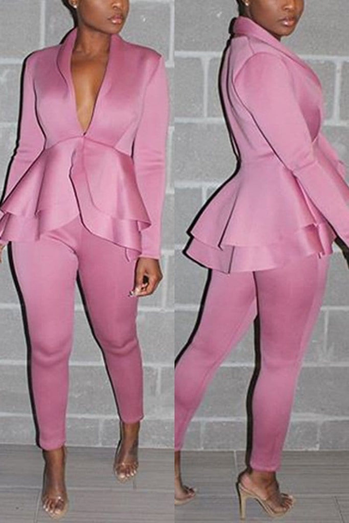 Fashion Sexy Ruffled Fashion Suit