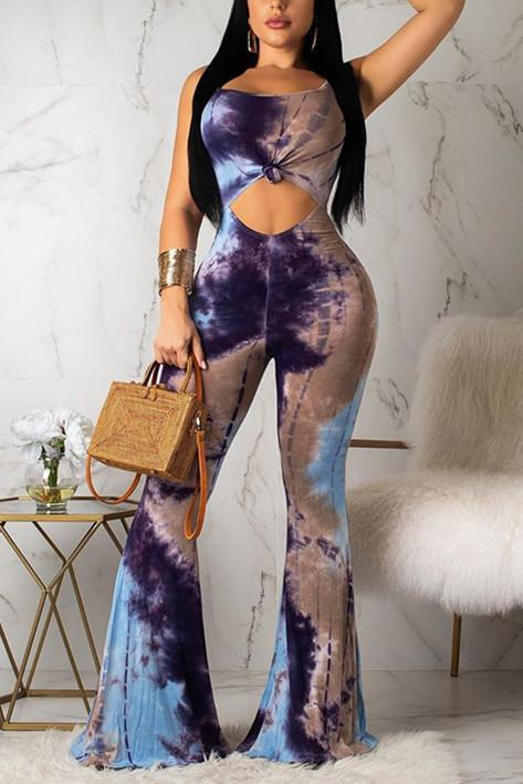 Sexy Fashion Sling Print Speaker Jumpsuits
