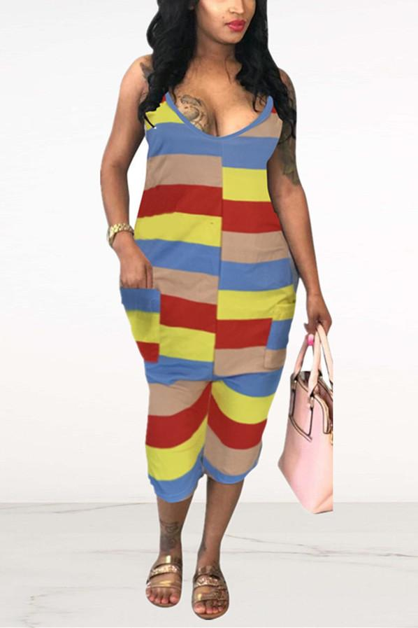 Sexy Color Striped Suspenders Jumpsuit