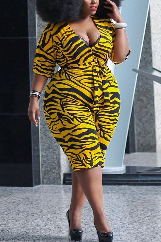 Fashion Leopard Print Plus Size Romper