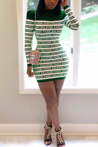 Fashion Letter Print Striped Dress