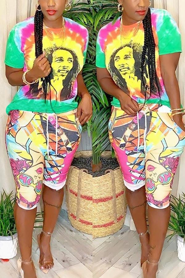 Fashion Cartoon Print Two-Piece Set